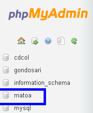 Klik nama database nya , nama database kami matoa