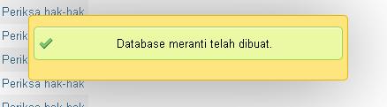 Database Meranti Telah Dibuat