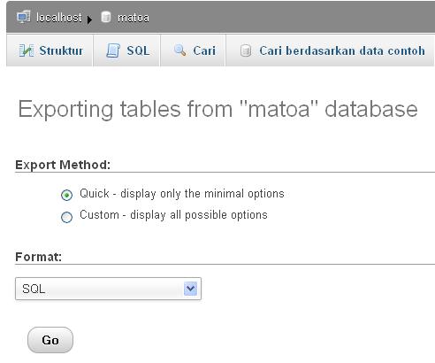 Ekspor database matoa , Klik GO