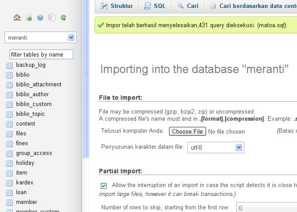 Sukses Import Database Matoa Ke Meranti