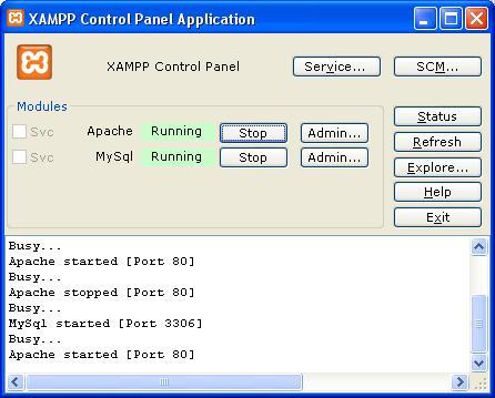 XAMPP Apache dan MySQL jalan
