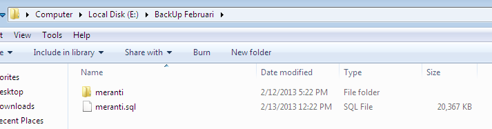 Back Up Database SQL dan SLiMS siap diburning